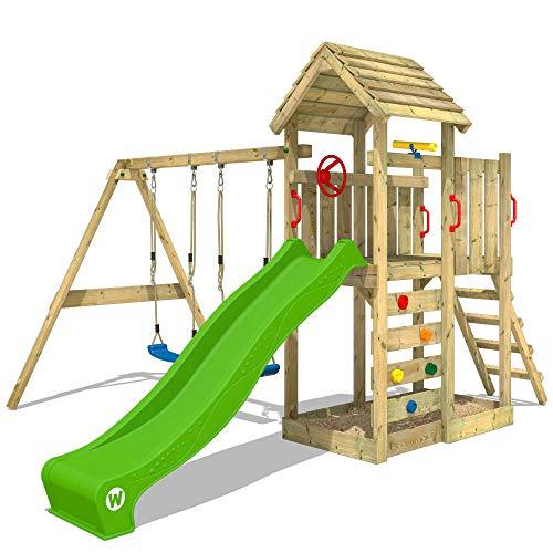 WICKEY Spielturm Klettergerüst MultiFlyer HD mit Schaukel & apfelgrüner Rutsche, Kletterturm mit Holzdach, Sandkasten, Leiter & Spiel-Zubehör
