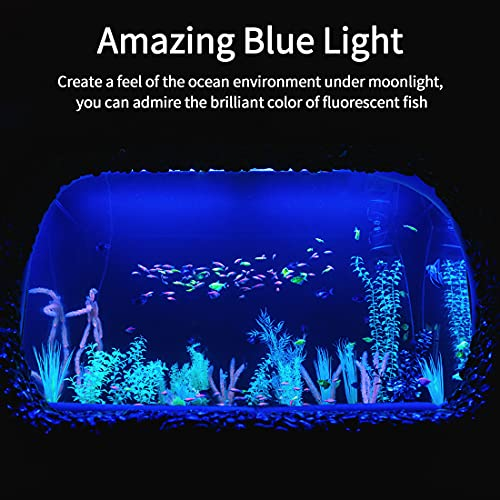 LVYTECH Fish Tank Light, Submersible Aquarium Light with Timer, Full Waterproof, Brightness Adjustable Strong Suction Cups, Wireless Remote Control Fish Light for 10-25 Gallon Fish Tank