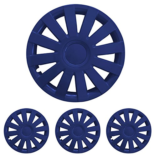 """Fussmatten-Deluxe 15 Zoll 15"""" R15 Radkappen Radzierblenden 4 Stück im Set für Stahlfelgen vieler Fabrikate Taga Blau"""