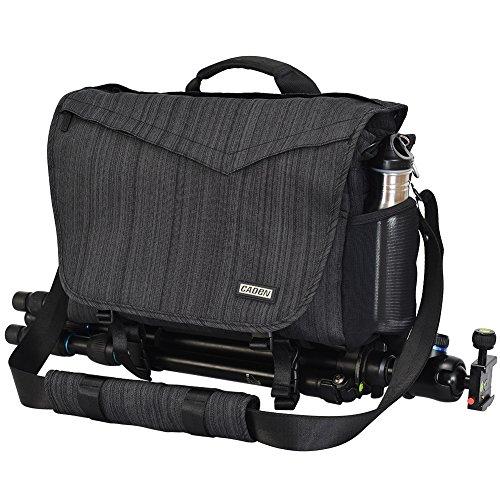 CADeN Camera Bag Case Shoulder Messenger Photography Bag with Laptop Compartment 14', Tripod Holder, Compatible for Nikon, Canon, Sony, DSLR SLR Mirrorless CamerasWaterproof Black