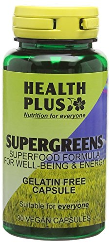Health Plus SuperGreens 500mg : Superfood General Health & Well-Being Supplement : 90 Vcapsules