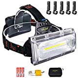 Head Torch, LETOUR LED Head Torch Rechargeable, 2500Lumens Super Bright...