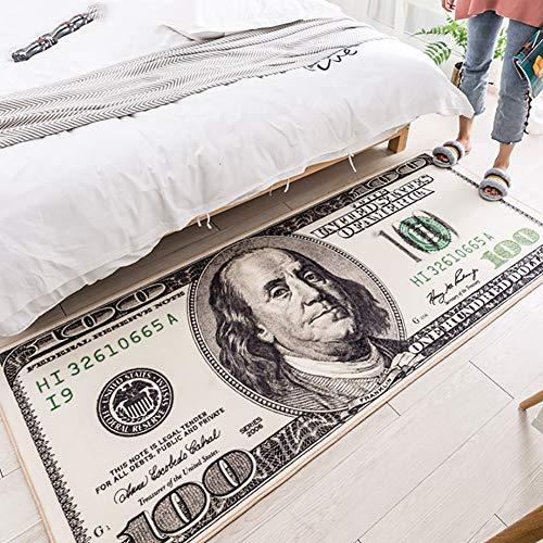 qwqqaq Tapis Motif De Dollars,Créatif Dollar des États-Unis Tapis,Chevet Couloir Paillasson,Antidérapant Tapis De Jeu pour Living Room A 80x160cm(31x63inch)