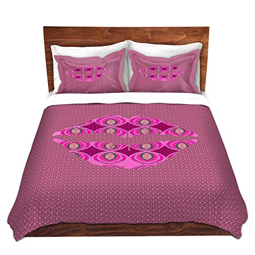 DiaNoche Designs Lips Pink Home Decor, Bedroom and Bedding Ideas Cover, 7 Queen Duvet Sham Set