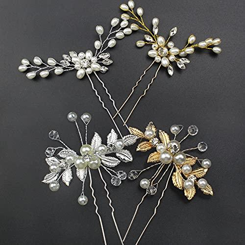 hocadon 4 Piezas Horquilla Cristal Perla Novia, Pinzas para el Cabello en Forma de U, Horquillas Pelo Mujer Boda para la Boda y Fiesta, Diseño de Flores, Plateado y Oro(4 Estilos)