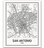 San Antonio Map San Antonio Poster City Map Posters Texas City Texas Map San Antonio Modern Map Art Black and White Map Wall Art Texas Map Art Scandinavian Poster 8x10