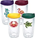 Tervis Tropical Animal Insulated Tumbler with Emblem and Assorted Lid 4 Pack - Boxed, 16 oz, Clear