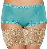 WELLQUA Anti-Irritazione Fasce Elastiche Cosce Donna Anti Sfregamento Bande Elastico Coscia Pizzo Anti Slip Thigh Bands (Beige-1, M)