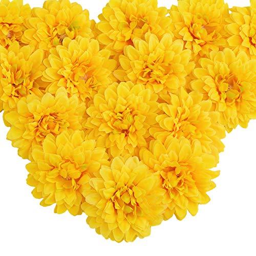 Silk Marigold Flower Heads Bulk, Artificial Marigold Flowers Artificial Yellow Flowers Heads Bulk for Party DIY Festival Home Decor Hat Ornament 15pcs (Yellow)