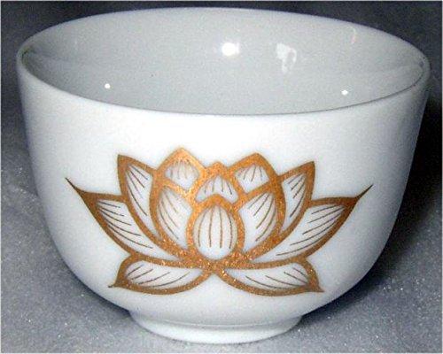 ハセガワ仏壇 湯呑 白上金蓮 [小深] 陶器製 仏具 (30×46mm)