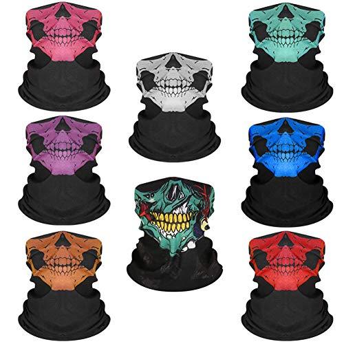 Fahrradschal 8 Stück Kopfbedeckung Kopfbedeckung Sport Kopfbedeckung Schädel Gesichtsschutz Bandana Sturmhaube ohne Nähte Anti-Schlag Outdoor für Laufen, Skifahren
