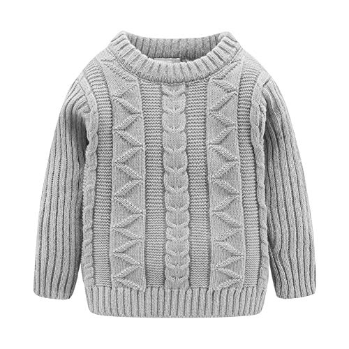Mud Kingdom Toddler Boys Sweater Crewneck Lightweight Gray 4T