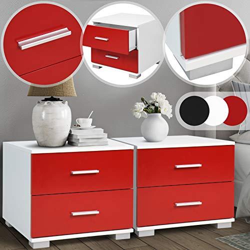 Nachttisch 2er-Set - 40x40x35 cm, MDF, Griffe aus Metall, zwei Schubladen, Farbwahl - Nachtschrank, Kommode Ablagetisch, Nachtkommode für Schlafzimmer, Wohnzimmer (Rot-Weiß)