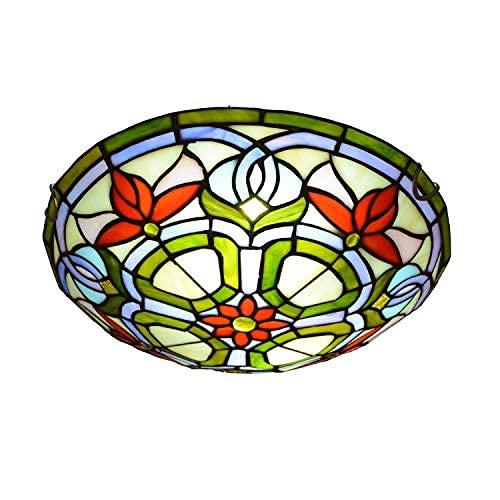 Lámpara de Techo LED Vintage Lámpara de Techo Tradicional de Moda Lámparas de Techo de Estilo Tiffany Iluminación Hermosa y Elegante para la Oficina Habitación del bebé Baño, luz de 16 pulga