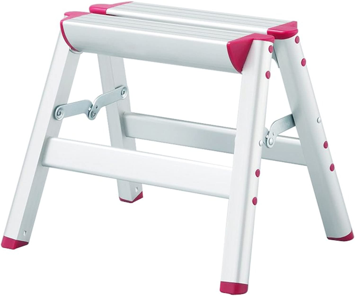 WUFENG Ladder Stool Foldable Thicken Aluminum Alloy Ladders Portable Sturdy and Lightweight Household (color   Silver, Size   38x31x30cm)