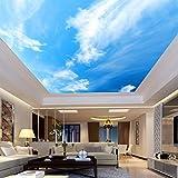 Lllyzz Benutzerdefinierte 3D-Fototapete Moderner Blauer Himmel Und Weiße Wolken Wohnzimmer Schlafzimmer Deckengemälde Siebdruck Tapeten-120X100Cm