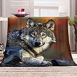Manta con Estampado Animal Lobo Mantas para Sofa Manta de Microfibra Franela Throw de Microfibra Suave cálida y sólida para Cama sofá y Viaje 180x200cm