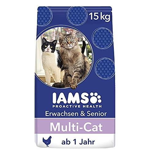 IAMS Multi-Cat Trockenfutter (für Haushalte mit mehreren erwachsenen oder älteren Katzen, mit Huhn als Hauptzutat, enthält viel hochwertiges tierisches Protein), 15 kg