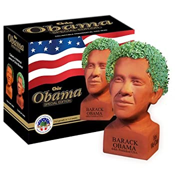 Chia Pet Determined Pose Obama with Seed Pack Decorative Pottery Planter Easy to Do and Fun to Grow Novelty Gift Perfect for Any Occasion