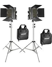 Neewer Set van 2 660 LED-videolampen met 78,7 inch roestvrij stalen lichtstatief set: dimbaar bi-kleurig LED-paneel videolicht met U-houder, barndoor(3200-5600K, CRI 96+)