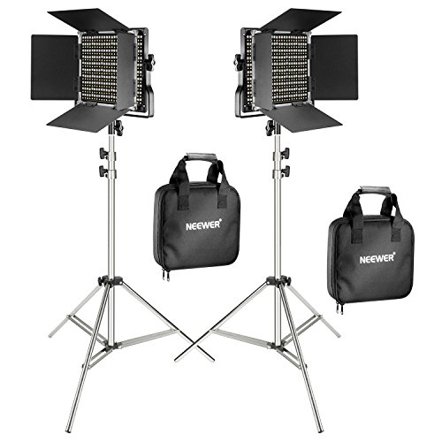 Neewer Kit de 2 Paneles LED Regulable Bicolor 660 Video Luz con Soporte de Luz 2m:Panel LED Regulable Bicolor con Soporte U,3200-5600K,CRI 96+ para Estudio Retrato,YouTube Video Fotografía