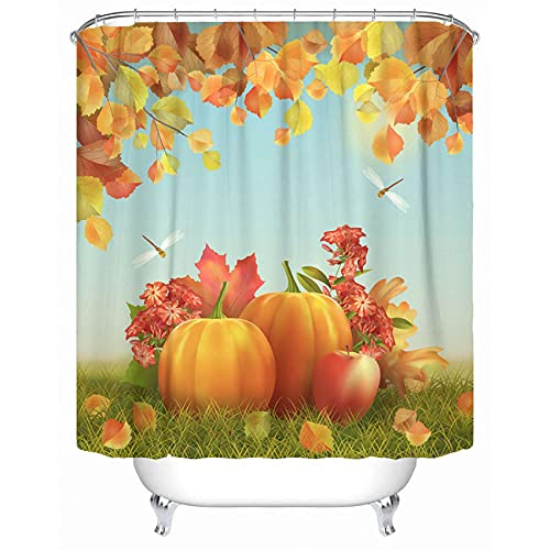 """Emvency Fabric Shower Curtain Curtains with Hooks Colorful Fall Autumn Thanksgiving with Harvest Pumpkins Fallen Leaves Tree Branches Dragonfly Field Scene 72""""X72"""" Waterproof Decorative Bathroom"""