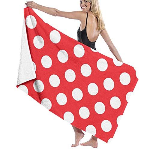 Toallas de baño de lunares rojos y blancos de secado rápido suave toalla de ducha de playa 130 x 80 cm