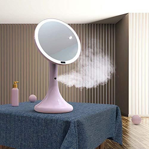 Bureaulamp Lamp Intelligente LED Hydrating Makeup Mirror Human Body Induction Light Makeup Mirror Spray Moisturizing Water Meter Desktop Tafellamp (Color : Pink)