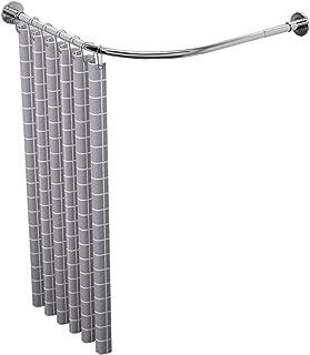 Curved Shower Rod Adjustable l Shaped, Shower Curtain Rod Extendable Pole Bath Tub Curved Shower Rod Telescopic Shower Rai...