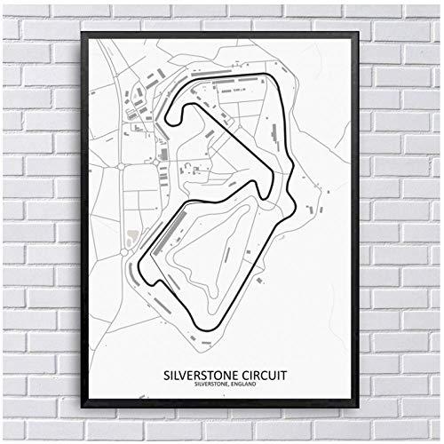 kldfig Silverstone Circuit Map Art Canvas Schilderij Scandinavische posters en afdrukken Muurschilderingen voor woonkamer en wooncultuur - 60x90cm niet ingelijst