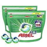 Ariel Allin1 Lessive en Capsules Liquides, Parfum avec une Fraîcheur Longue Durée, 108 Lavages (2 x 54)