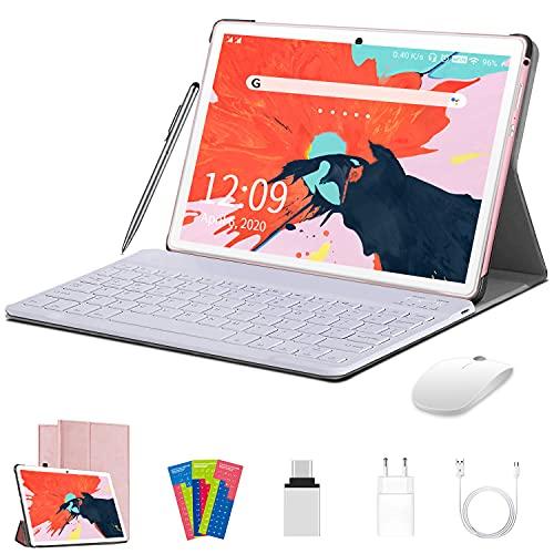 AOYODKG Tablet 10.1 Pulgadas Android 10.0 Tablet PC con 4GB RAM 64GB ROM + Expandido 128GB Quad Core Let Dual SIM 8000mAh WiFi OTG con Teclado-Rosa