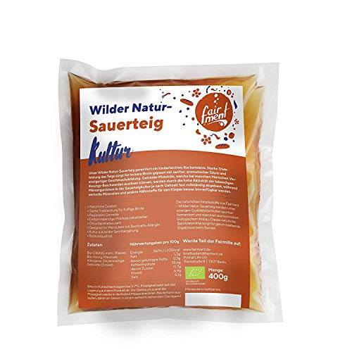 Wilder Natur-Sauerteig von Fairment, bio - flüssig, frisches Anstellgut - für 40 Brote - Vorteig Starter
