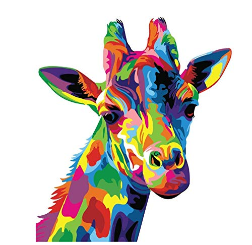 nobrand Erwachsene Leinwand Ölgemälde Gemalte Giraffe Rahmenlos, Malen Nach Zahlen DIY Ölgemälde Bunte Lion Leinwand Druck Wand Kunst Home Dekoration 40X50Cm(Rahmenlos)