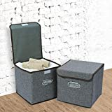 HOKIPO® Foldable Cube Storage Bin Basket for Office, Home Closet, Grey - Pack of 2 (10x10 Inches)