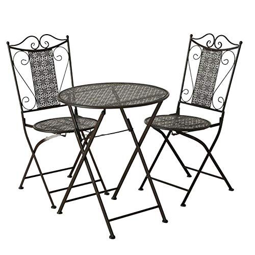 Balkonmöbel-Set 3-teilig aus Eisen im Antikfinish - Französische Gartenmöbel im Antik-Look Bistro-Tisch mit 2 Stühlen im Jugendstil Farbe Levin