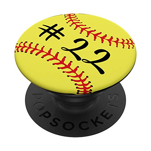 Softball Player #22 Back Jersey No 22 Gadget Sport Gift PopSockets PopGrip: Swappable Grip for Phones & Tablets