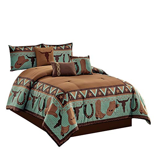 T&H Home 3 Pcs Duvet Cover Set Queen Size USA Western Bedding Set, Cowboy Hat with Boots Rope on American Flag Down Comforter Cover with Matching 2 Pillowcases for Adults Women Men