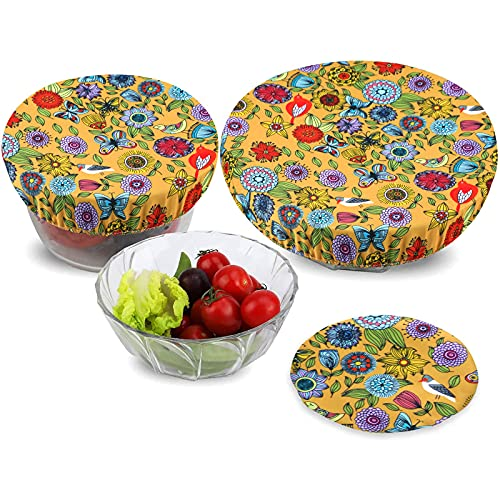 PHOGARY 3 Reusable Bowl Covers Lids, Food Cover, Stretched Lids, Waterproof Fabric Covers for Glass Salad Bowl, Pot, Melons, Elastic Edging (Sunflower)
