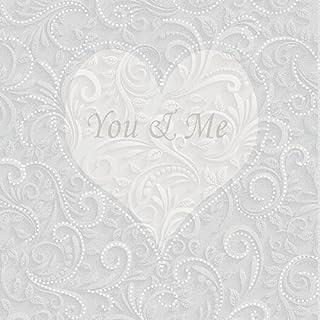 Servetten Ambiente YOU & ME champagne, bruiloft Du + Ich, 33x33cm, 3-laags 20 stuks verpakking