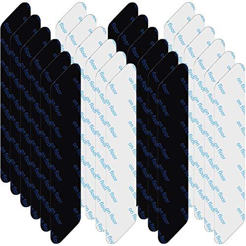 32 Pieces Rug Grippers Anti Slip Rug On Rug Gripper Anti Curling Corner Carpet Gripper Renewable Adhesive Rug Tape, Black and White