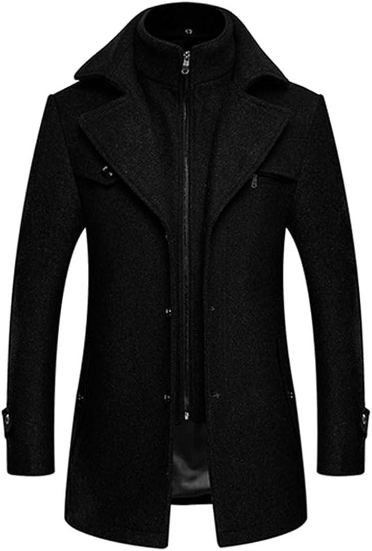 Men Turn Collar Para Hombre Wool Coat Zipper Soft Overcoat Warm Mens Coat