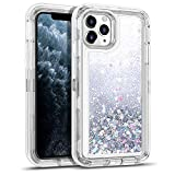 WESADN Case for iPhone 11 Pro Case for Women Girls Glitter Cute Shockproof Protective Heavy Duty Clear Case with Sparkle Quicksand Hard Bumper Soft TPU Cover for iPhone 11 Pro,5.8 Inches,Silver