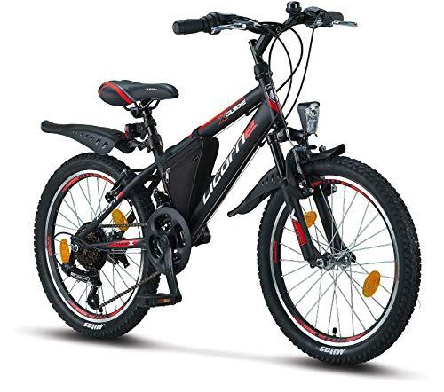 Licorne Bike Guide, (Schwarz/Rot/Grau),20 Zoll Mountainbike,geeignet für 6,7,8, 9 Jahre,Shimano 18 Gang-Schaltung,Gabelfederung,Kinderfahrrad,Jungenfahrrad, Mädchenfahrad, MTB,Rahmentasche