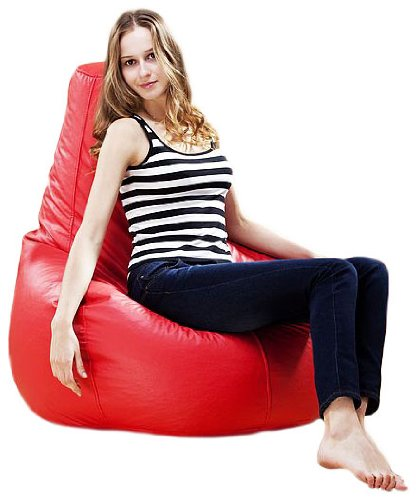 Puregadgets PU Leather XXL Extra Large High Back Adult Beanbag Gaming Chair Pod Seat Bean Bag available in Red