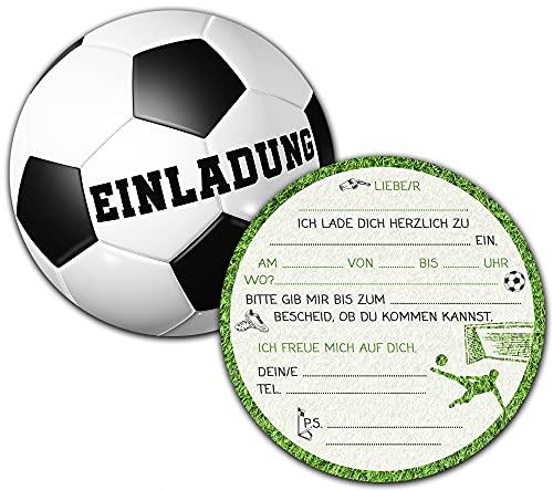 Fußball Einladungskarten Kindergeburtstag | Set aus 12 Geburtstagseinladungen | Kindergeburtstag Einladungskarten für Jungen & Mädchen | Kinder Fussball Mottoparty |