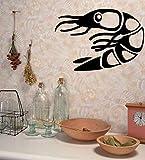 Ponana Venta Caliente Diy Impermeable Mariscos Tatuajes De Pared Cocina Decoración Del Hogar Etiqueta De La Pared Camarones Diseño 80X57Cm