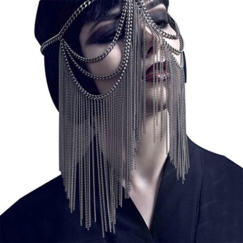 Kapmore Halloween Maske Maskenball Maske Maskerade Maske Kopf Kette Haarschmuck