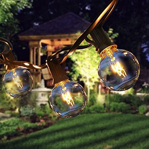 ROVLAK Guirnaldas Luminosas de Exterior G40 25+4 Cadena de Luces Impermeable Cadena Bombillas Guirnaldas Luces para Interior Exterior Dormitorio Boda Partido Jardín Terrazas Decoración