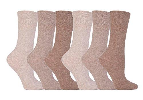 Weiche Halt - 6 Paar Damen Diabetiker Socken mit Wabe Top und Hand verknüpfte Zeh Nähte - EU 37-41 Eu 37-42, Beige, 32-36